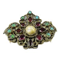 Sterling Silver Turquoise Garnet And Pearl Brooch Austro-Hungarian C.1890