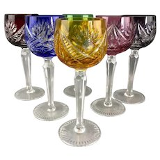 Set of Six Overlay Cut Hock Wine Glasses Vintage c1960