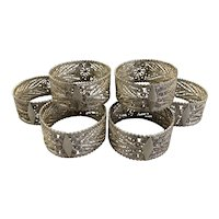 Islamic Persian Silver Tested Set Of 6 Napkin Rings c1910