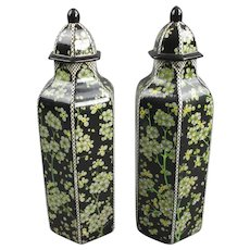 Pair Royal Doulton Prunus Lidded Jars Vintage c1930