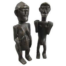 Pair Male & Female Lobi Bateba Ancestral Spirit Figures Antique 19th Century