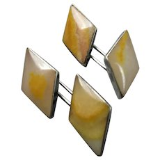 Boxed Pair Sterling Silver Butterscotch Baltic Amber Cufflinks Vintage c1950