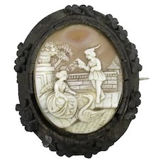 Carved Shell Cameo Pinchbeck Brooch in Bogwood Mount Antique Mid 19th Century