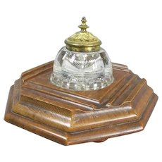 Oak And Glass Inkwell And Stand Antique Victorian c1890