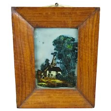 Hand Painted Communal Church Courtyard On Glass In Rose Wood Frame Antique Victorian c1900