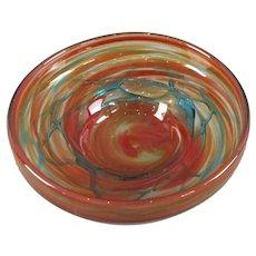 Mdina Hand Blown & Trailed Maltese Glass Fruit Bowl Vintage c1970