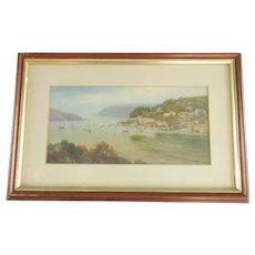 Framed Watercolour Painting Seascape Antique c1900