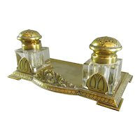 Brass Inkwell and Stand Antique 19th Century