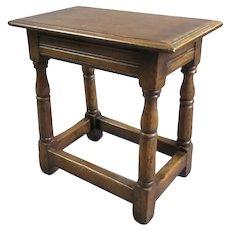 Smaller Oak Joint Stool Jacobean Revival Antique c1890