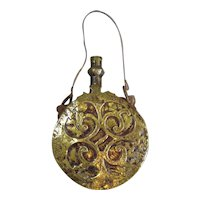 Indian Brass Powder Flask Antique 18th Century