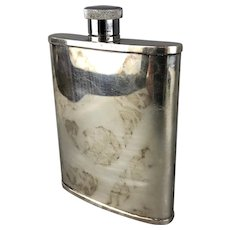 Silver Plate Whiskey Hip Flask Made in England Vintage Art Deco c1930