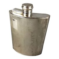 Large Silver Plate Engine Turned Hip Whisky Flask Made By EPNS in England Vintage c1930