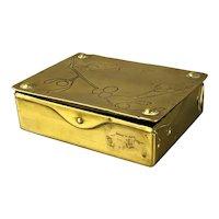 Arts & Crafts German Mistletoe Brass Stamp Box Antique Victorian c1900