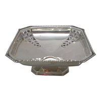 English Sterling Silver Square Tazza Vintage c.1940.