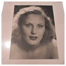 English B & W Photograph Portrait Of A Woman Vintage c.1940.