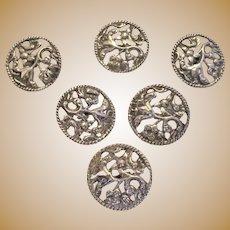 Sterling Silver Buttons Set Of Six Antique Art Nouveau English Chester 1895.