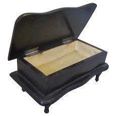 Antique Small Ebony Jewelry Box on Legs c1900.