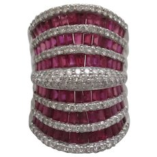 14ct White Gold Ruby & Diamond Statement Ring Vintage.