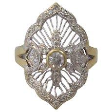 18ct Gold & Diamond Art Deco Style Panel Ring.