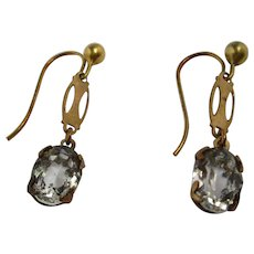 9k Yellow Gold Rock Crystal Drop Earrings Vintage Art deco Style c1950 English.