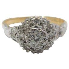 18k 18ct Gold Platinum Diamond Ring Vintage Art Deco c1920.