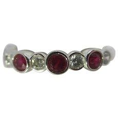 Ruby & Diamond 18k White Gold Half Eternity Ring Vintage.