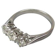 18ct White Gold Triple Diamond Ring Size L/5.75