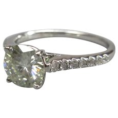 18ct White Gold Ring with Diamonds & Moissanite Size UK M/N US 6.5