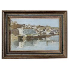 Vintage English Modern School Oil on Board -Devon Coast Town c.1960s