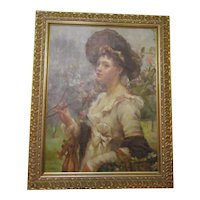 Oil On Board Of A Lady Holding Blossom Antique Belle Epoque C1890-1910.