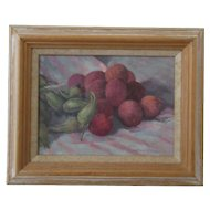 Oil On Board Lychees And Cobnuts Vintage C1980's.