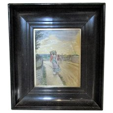 Smaller Framed English Victorian Watercolour 'Lady & the Carriage' by J L Byam Shaw c1890.
