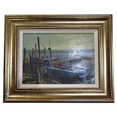 Oil Painting On Board Of Beached Boats By Keith Burtonshaw Vintage 20th Century.