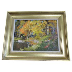 Oil Painting On Board Of Woodland Scene By Edgars Vinters Vintage 20th Century.
