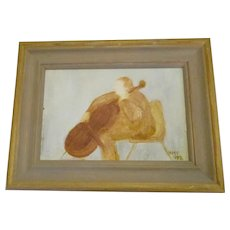 Oil On Board Titled Brown Cellist by H.M. Clarke Vintage 1992.