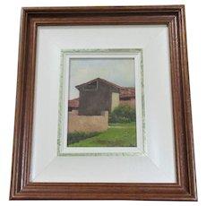 Oil On Panel Titled Tuscan Farmhouse Vintage 20th Century.