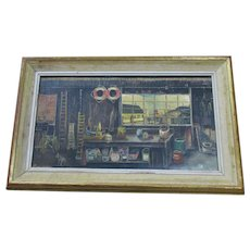 English Oil On Board 'The Workshop' By D.G. Warmsley Vintage 20th Century.