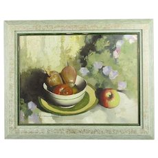 Framed Oil on Board Painting of Shallots and Fruit by Spartaco Lombardo c1980