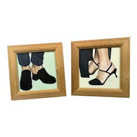 Pair of Acrylic On Board Painting Shoes Vintage C1999