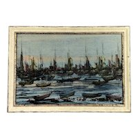 Mixed media Painting Harbour Scene By Driexel 1970 Vintage
