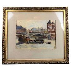 Tug Boat on the Thames by EM Nelson Oil on Card Painting Vintage Art Deco c1930