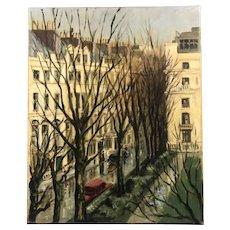 Oil On Canvas Townscape Vintage C1950
