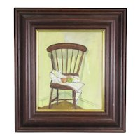 Smaller Oil on Board of Still Life with Chair Contemporary