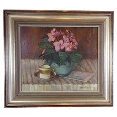 Framed Oil on Board Study in Pink & Green Mary Remington Vintage