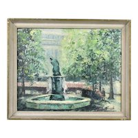 Impressionistic Oil on Canvas Fountain, Sloane Square London, Vintage c1960