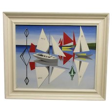 Acrylic on Board Painting 'Reflections' by Colin Dent Vintage c1970