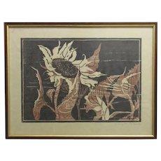 Framed Linocut Picture 'Sunflowers' by Hilary de Loach Vintage