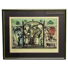 Framed Dry Point Etching Print Vintage