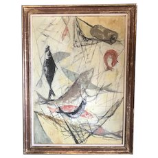 Oil On Board Fish And Nets By Regine Durand Lavierge Vintage Art Deco c1920