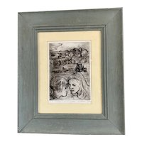 Charcoal On Paper By Wickam Topley Vintage c1980